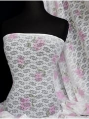 Lace Floral Stretch Fabric- White/ Pink SQ81 WHTPN
