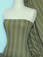 100% Viscose Stretch Fabric Material- Stripe Olive Q240 OLV