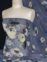 Chiffon Soft Touch Sheer Fabric - Twilight Poppies CHF189 BLYL