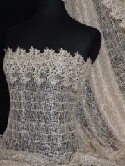 Crochet Knit Sequin Lace Fabric- Beige SQ83 BG