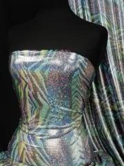 Hologram Rainbow Foil Stretch Spandex - Animal Carnival HMLYC205 SLVMLT