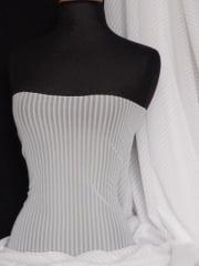 Power Mesh / Net 4 Way Stretch Fabric - White Stripe Q1050 WHT