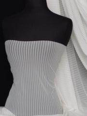 Power Mesh / Net 4 Way Stretch Fabric - Ivory Stripe Q1050 IV