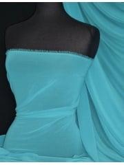 Crinkle Sheer Chiffon Material- Turquoise Blue Q795 TQBL