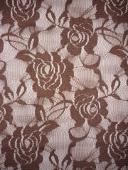 Lace Rose Flower Stretch Fabric- Mocha Brown Q963 MCH