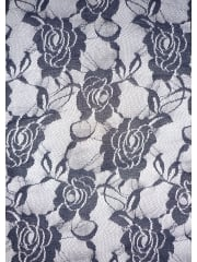 Lace Rose Flower Stretch Fabric- Navy Blue Q963 NYBL