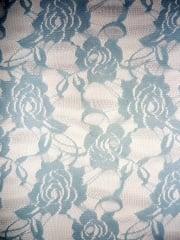 Lace Rose Flower Stretch Fabric- Sky Blue Q963 SKBL
