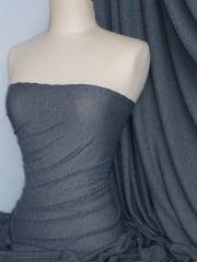 Paris Mesh Non-Lycra 4 Way Stretch Light Jersey Fabric- Marl Denim Q450 MDNM