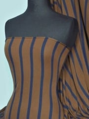 100% Viscose Fabric- Stripe Brown/Navy Q422 BRNY