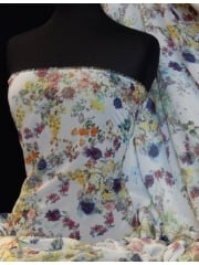 Chiffon Soft Touch Sheer Fabric- Garden Blooms CHF210 WHMLT