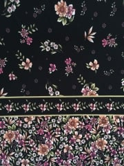 Soft Touch 4 Way Stretch Lycra Fabric- Vintage Floral Black/Pink SFT225 BKPN