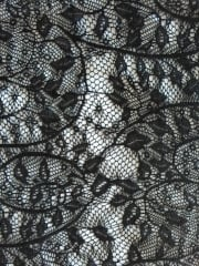 Crochet Lace Floral 4 Way Stretch Fabric- Black SQ104 BK