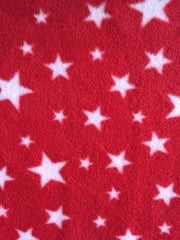 Polar Fleece Anti Pill Washable Soft Fabric- Red Twinkle PF227 RDWHT