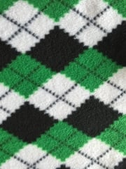 Polar Fleece- Anti Pill Washable Soft Fabric - Green Argyle Check PPFL43 GRNBKWH