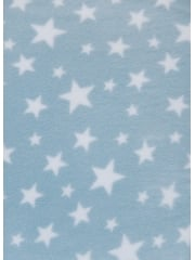 Polar Fleece Anti Pill Washable Soft Fabric- Baby Blue Twinkle PF227 BBLWHT