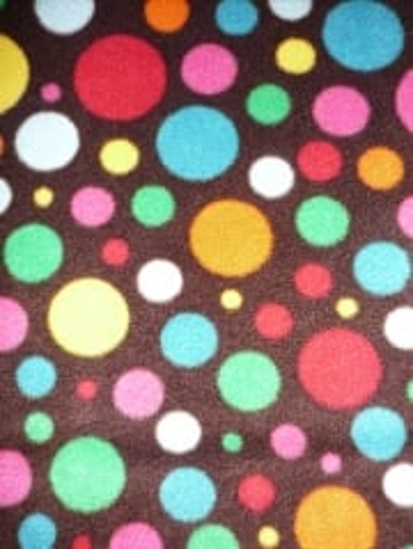 Polar Fleece Anti Pill Washable Soft Fabric- Brown/Multi Spots Q1285 BRNMLT