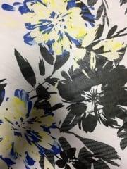 Chiffon Soft Touch Sheer Fabric - Blue/Yellow Lilies CHF228 BLYLBK