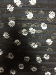 Chiffon Soft Touch Sheer Stripe Fabric - Ditsy Daisies CHF231 BKIV