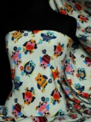 Polar Fleece Anti Pill Washable Soft Fabric- Cream Owl Print Q1114 CRM