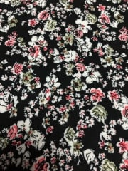 100% Viscose Light Weight Woven Material- Retro Roses Black VSC239 BKPN