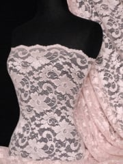 Lace Scalloped Floral Stretch Lycra Fabric- Baby Pink Q615 BPN