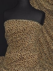 Polar Fleece Anti Pill Washable Soft Fabric- Mini Cheetah Camel/Brown PPFL47 CMLBR