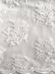 Lace Floral Flounce Scalloped Fabric- White SQ121 WHT