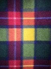 Polar Fleece Anti Pill Washable Soft Fabric- Buchanan Tartan Multi PF GRNOR