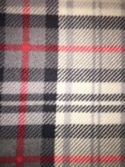 Polar Fleece Anti Pill Washable Soft Fabric- Scottish Grey Tartan PF GRRD