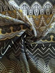 Chiffon Soft Touch Sheer Fabric- Golden Embroidery Black/Gold CHF245 BKGD