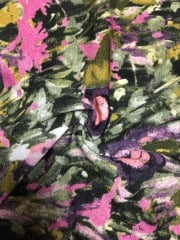 Knitwear Stretch Fabric- Floral Paintwork Purple/Olive SQ132 PPLOLV