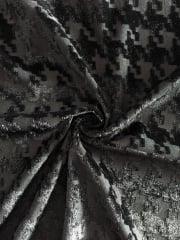100% Polyester Burnout Stretch Fabric- Black Dogtooth SQ133 BK