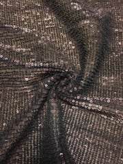 Showtime Fabric All Over Stitched Sequins Pleated Mesh- Brown Glitz SEQ60 BR