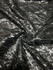Showtime Fabric All Over Stitched Sequins Silk Touch- Petals Matt Black SEQ64 MTBK