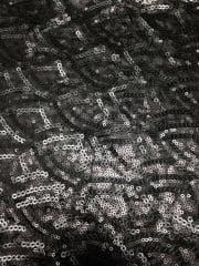 Showtime Fabric All Over Stitched Sequins Silk Touch- Petals Matt Black SEQ64 MTBK