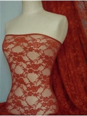 Flower Stretch Lace Fabric- Fire Orange Q137 FOR