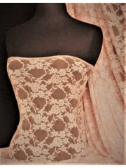 Flower Stretch Lace Fabric- Peach Q137 PCH