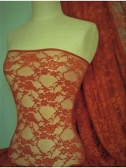Flower Stretch Lace Fabric- Burnt Orange Q137 BNTOR