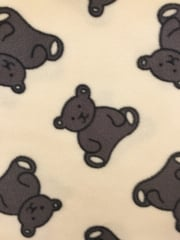 Polar Fleece Anti Pill Washable Soft Fabric- Teddy Bear Ivory/Grey PPFL48 IVGR