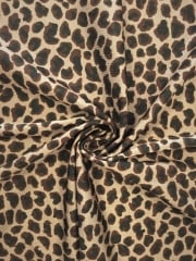 Silk Touch 4 Way Stretch Fabric- Brown Mini Leopard SQ145 MCHBR