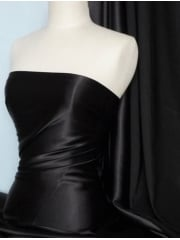 Clearance (1 metre) Satin Shiny Lycra 4 Way Stretch Heavy Weight Material- Black SQ180 BK