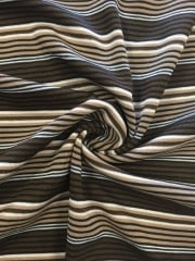 Jersey 4 Way Stretch Striped Fabric- Brown/Ivory Stone SQ146 BRSTN