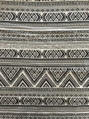 Cotton Lycra Jersey 4 Way Stretch Fabric - Black/White Aztec SQ149 BKWHT