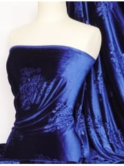 Royal Blue Embossed Velvet Spandex Fabric Q978 RBL