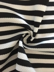 Riverpool Stripe 4 Way Stretch Fabric- Black/White SQ154 BKWH