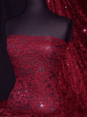 Sequined Lace Soft Handle Stretch Dress Fabric- Mulled Wine SQ159 MWN