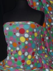 Polar Fleece Anti Pill Washable Soft Fabric- Grey/Multi Spots Q1285 GRMLT