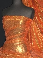 Showtime Fabric All Over Stitched 3mm Sequins - Tropical Orange SEQ53 TROR