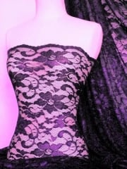 Lace Scalloped Floral Stretch Lycra Fabric- Purple Q615 PPL