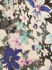 Georgette Chiffon Soft Touch Sheer Fabric - Aqua Blue/Grey Floral Print CHF249 AQGR